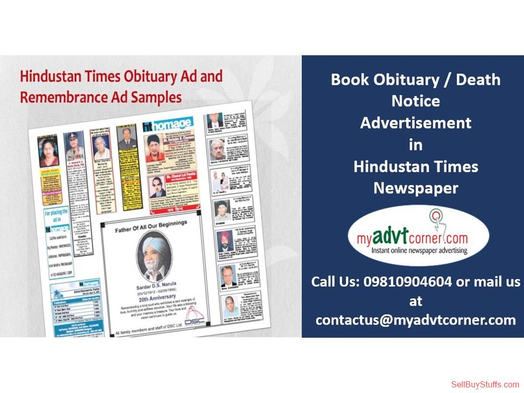 Delhi Obituary Display Ad in Hindustan Times Newspaper