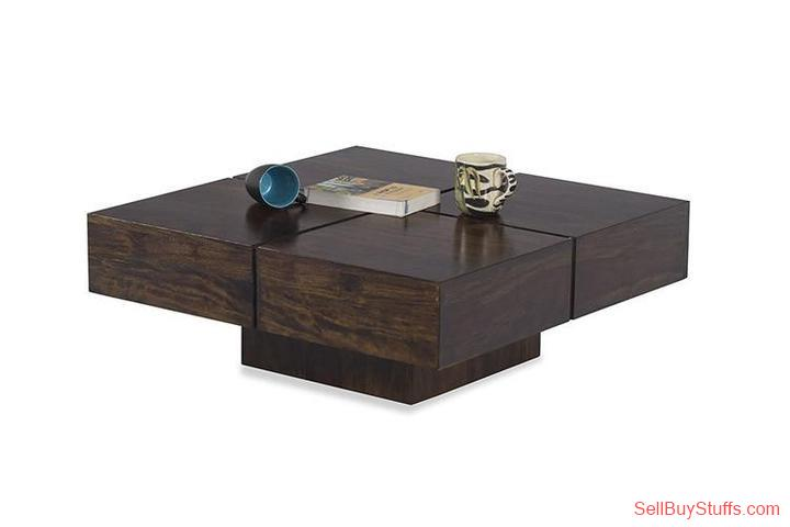 second hand/new: Solid Wood Contrast Square Coffee Table